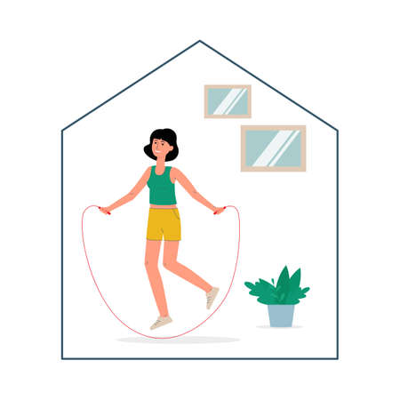 Home sport exercise concept with character of woman skipping with jump rope, flat vector illustration isolated on white background. Stay home and stay healthy topic. Иллюстрация