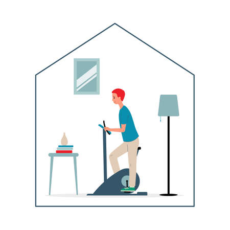 Man cartoon character exercising at home with trainer bike, flat vector illustration isolated on white background. Home sport and and healthy lifestyle. Иллюстрация