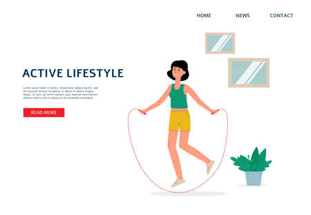 Web page template for online sport training and home fitness with woman cartoon character leading healthy active lifestyle, flat vector illustration on white background.