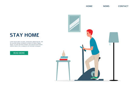 Stay home website banner or landing page design depicting man training at home, flat vector illustration. Healthy sportive home recreation activity concept. Иллюстрация