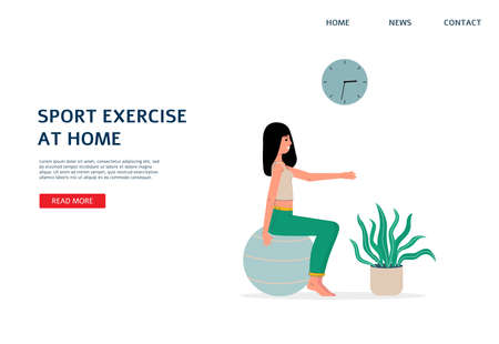 Sport exercise at home and home fitness workout website interface template with cartoon character of woman training on fit ball, flat vector illustration.