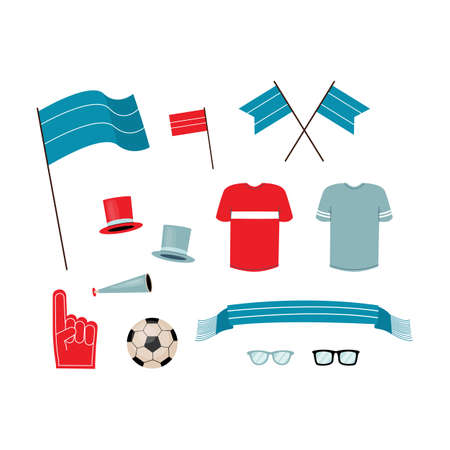 A set of attributes for football fans. Accessories for soccer supporters. Isolated  symbols for design. Flat illustrations on a white background