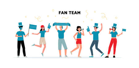 Group of young people the sport or football fans team in blue t-shirts and funny hats holding flags and symbolic, flat vector illustration isolated on white background. Vettoriali