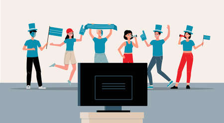Football fans watching game on TV in fan gear - cartoon people with blue scarf and flag, face paint and hat cheering for favorite team on television. Vector illustration. Vettoriali
