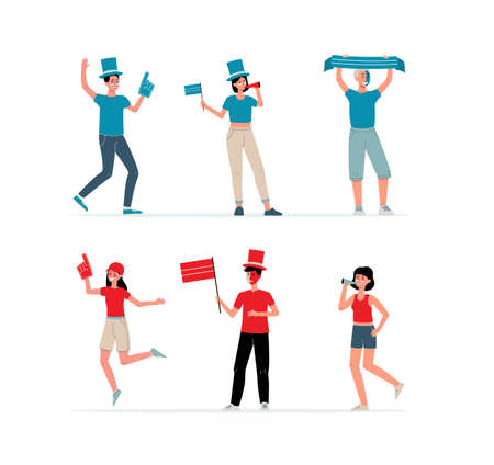 Funny cartoon characters of two sport or football fans supporting teams in red and blue t-shirts and hats, flat vector illustration isolated on white background.