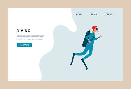 Scuba diving website banner with cartoon man swimming underwater in diver suit and gear. Vector illustration of water sport athlete on homepage template.