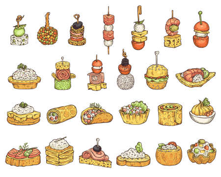 Set of various snacks or appetizers colorful cartoon icons in sketch style, vector illustration isolated on white background. Restaurant party and banquet tiny snacks.