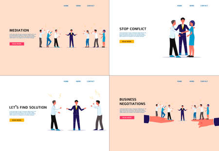 Conflict mediation and business negotiation website banner set with cartoon people arguing and mediator finding solution. Landing page template vector illustration