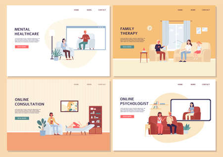 Set of website banners for psychological aid clinic with cartoon characters of psychologist and patients on psychotherapy session, flat vector illustration.