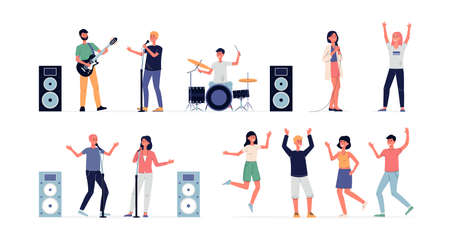 Set of people cartoon characters dancing and singing on concert or party, flat vector illustration isolated on white background. Open air music party characters kit. Иллюстрация