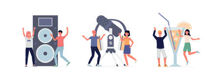 Music and dance party set with tiny people characters, flat vector illustration isolated on white background. Banner with cheerful men and women on concert and in club. Иллюстрация