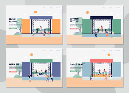 Set of web banners for summer open air music and dance party, flat vector illustration. Outdoors party or music festival web page mockups bundle with cartoon characters.
