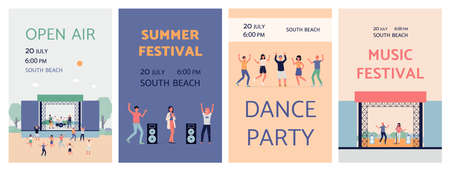 Set of open air music festivals and parties billboard posters. People dancing and having fun listening to music outdoors, flat cartoon vector illustration