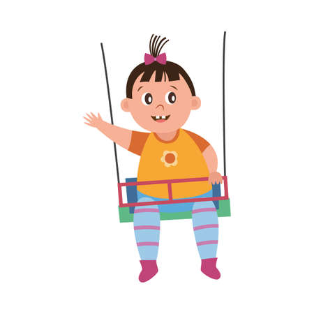 Funny baby brain development and learning world picture. Little kid swinging on a swing set and waving hand outdoors, flat cartoon vector illustration white background
