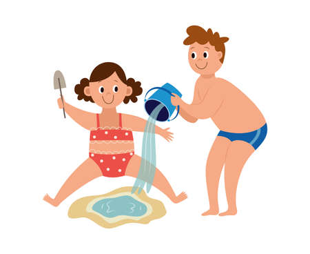 Boy and girl kids playing with beach sand and water bucket - cartoon children in sand pit making a puddle isolated on white background, vector illustration. 向量圖像