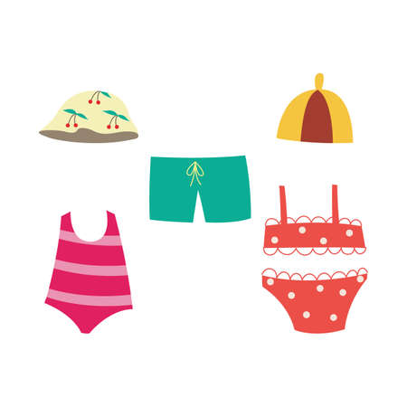 Children swimsuit set - collection of summer swimwear for little kids isolated on white background. Cute colorful clothes for swimming and vacation, vector illustration. Illusztráció