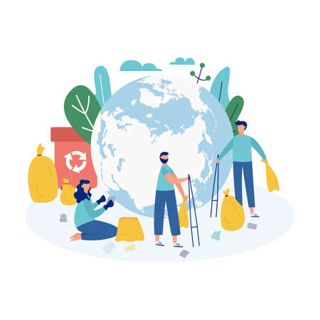Ecological concept of a clean and safe planet with people cleaning the Earth from rubbish and waste, flat vector illustration isolated on white background.