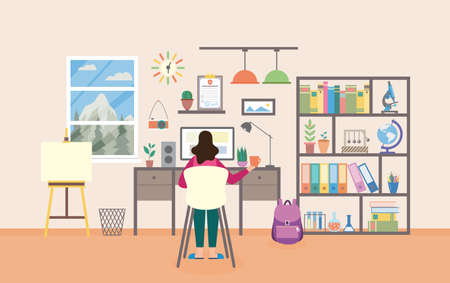 Woman sitting in chair studying and working from home workplace studying room. Cabinet furniture and computer for distance learning, flat cartoon vector illustration