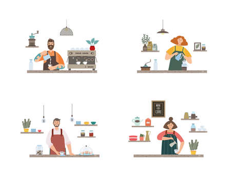 Set of cartoon characters of men and women baristas making coffee at bar counter in cozy interior of coffee shop. The concept of small business. Vector flat isolated illustrations