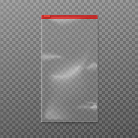 Realistic clear plastic sandwich bag mockup with red zipper. Long rectangle pouch package sealed with zip lock isolated on transparent background, vector illustration Vecteurs