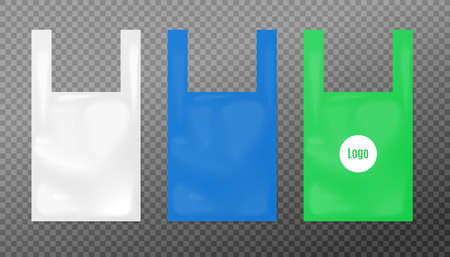 Set templates of three T-shirt plastic bags with empty space placement and identity, realistic vector illustration isolated on transparent background.