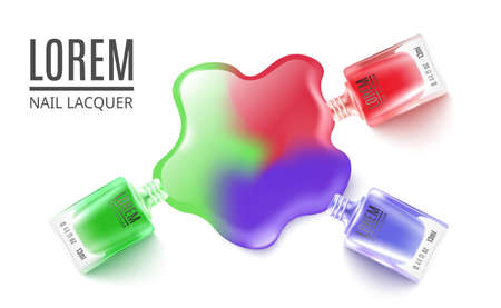 Card with red, green and blue nail polish bottles and place and text. Advertising of fashionable and beautiful manicures. Vector realistic illustration on white background