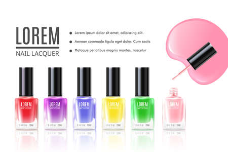 Lorem polishing nail lacquer landing page for internet website. Real looking nail polish bottles 3d mockup template, realistic vector illustration white background