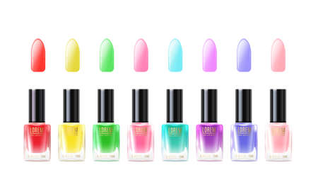 A set of colorful glass bottles of nail polish and place and text. Multicolored fashion and beauty manicure. Vector realistic illustration isolated on a white background 矢量图像