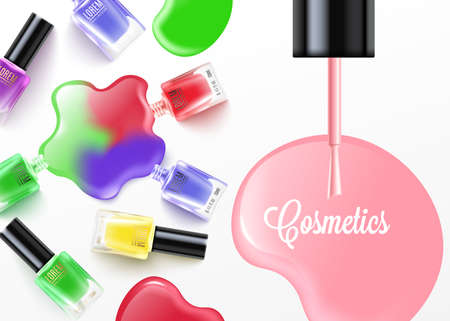 Card or poster with colorful nail polish bottles and place and text. Advertising of fashionable, bright and beautiful manicures. Vector realistic illustration on white.