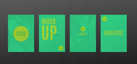 Set mockups of green wrinkled paper posters with empty space and design, realistic vector illustration isolated on dark background. Badly glued banners. Иллюстрация