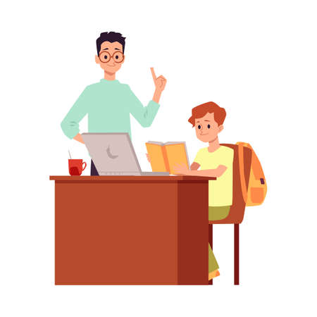 Boy and teacher at computer desk - cartoon pupil reading a book at home. Online internet education or private tutor concept, isolated vector illustration.