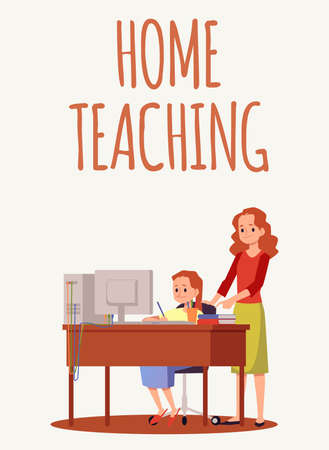 Home teaching and e-learning banner or poster design with characters of child studying remotely and his mother, flat vector illustration. Online education and knowledge.
