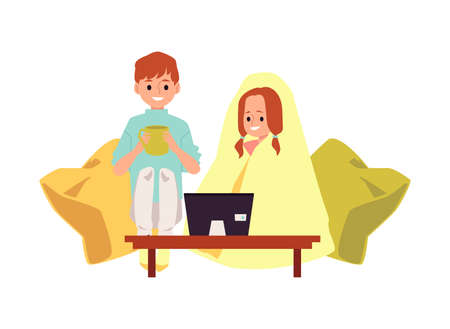 A brother and his younger sister watch cartoons or a movie on TV or using a laptop. Family activity on weekends or in quarantine. Flat vector isolated illustration