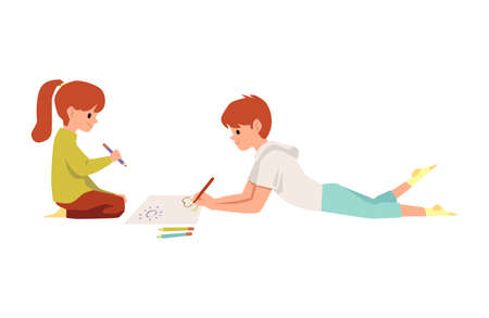 Brother and sister or girl and boy, friends drawing. Two children drawing pictures together sitting on the floor, flat vector illustration isolated on white background.