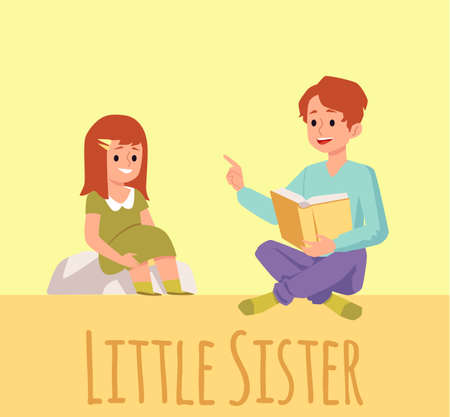 A brother reads a book with fairy tales or interesting stories to his little sister. Family activity on weekends or in quarantine. Flat vector illustration 向量圖像