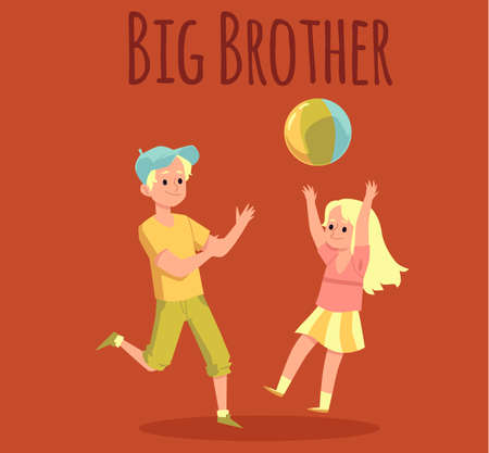 A brother and his little sister play with a ball. Activity of children at leisure, on weekends or holidays. Fun outdoor games. Card with lettering. Vector flat cartoon illustration
