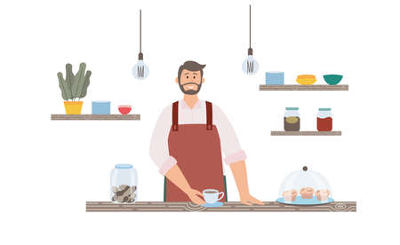 Male barista at the counter with a cup of coffee and sweet pastries. Cozy interior of the coffee house. Flat vector illustration on white background.
