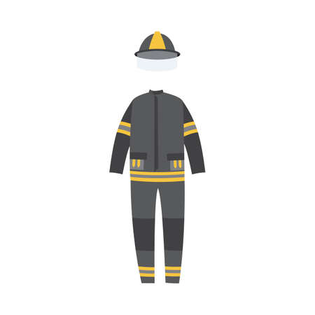 Modern flame protective costume of fireman or firefighter, flat vector illustration isolated on white background. Lifesaving fireproof suit of firefighting department.