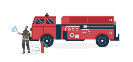 Fireman standing near fire truck equipped for rescue and firefighting, flat vector illustration isolated on white background. Firefighter and emergency vehicle.