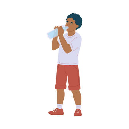 African american child drinking water from bottle, flat vector illustration isolated on white background. Little boy refreshing himself with pure water.