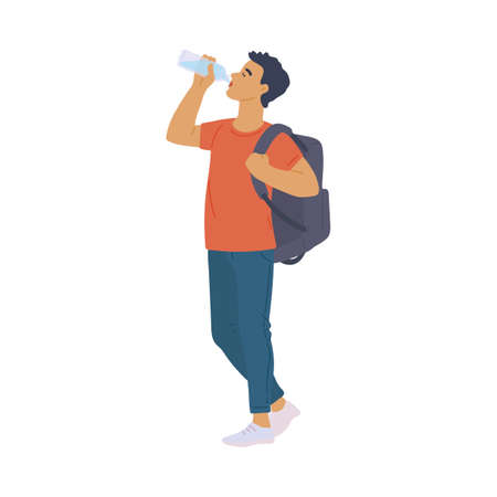 Young man drinking water from bottle keeping water balance importance for healthy lifestyle, flat cartoon vector illustration isolated white background