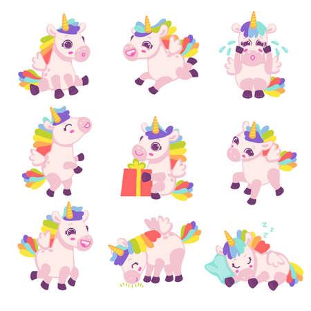 Set of cute pony horses unicorns in different poses. Magic fantasy rainbow animals doing activities, flat cartoon vector illustration isolated white background
