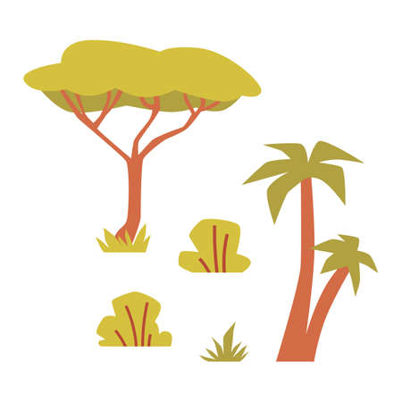 Set of plants and trees in african savannah. Exotic flora of Africa. Flat vector illustration isolated on a white background.