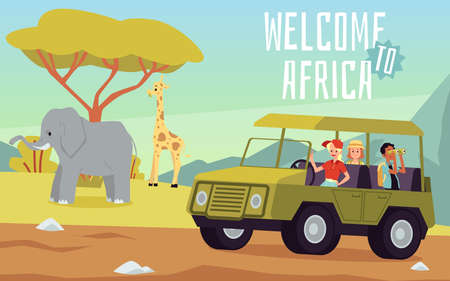 Welcome to Africa travel invitation banner. Adventurous safari tour in car watching wild species and wildlife nature, flat cartoon vector illustration