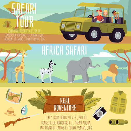 Africa safari tour banner set - cartoon people on expedition adventure with African animals and travel equipment. Wildlife discovery on truck, vector illustration.