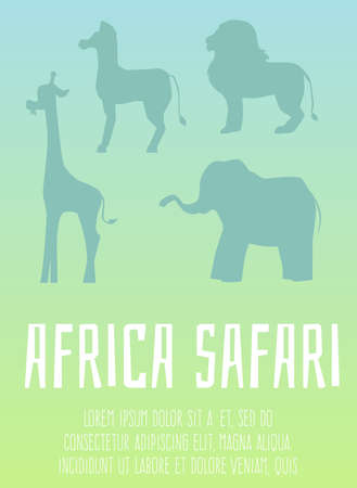 Silhouettes of wild african animals - lion, elephant, zebra and giraffe. Safari in Africa. Colorful poster or banner with text. Flat cartoon vector illustration