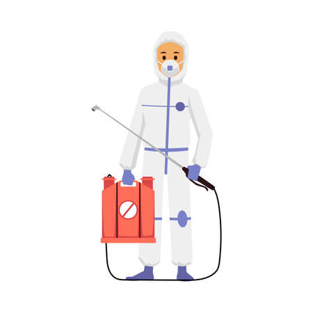 Pest control exterminator of insects in protective suit with pesticide sprayer, flat vector illustration isolated on white background. Pests disinfection staff worker.