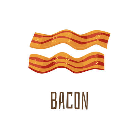Cooked bacon strips for continental breakfast and hamburger, flat vector illustration isolated on white background. Slices of delicious pork meat bacon.