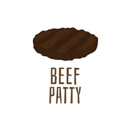 Beef patty isolated on white background. Burger meat cutlet with grill marks in cartoon style. Vector illustration of grilled brown hamburger patty.