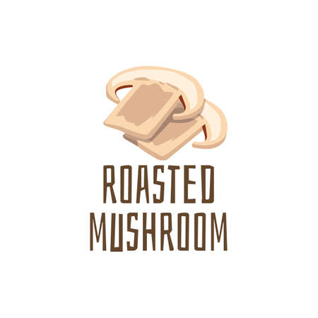 Card with sliced and roasted champignons mushrooms and text, flat vector illustration isolated on white background. Mushrooms a topping to various dishes and burgers.